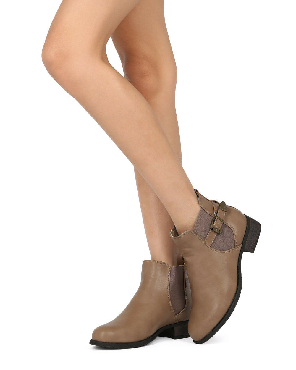 New Women Refresh Laker-01 Leatherette Belted Chelsea Motorcycle Bootie