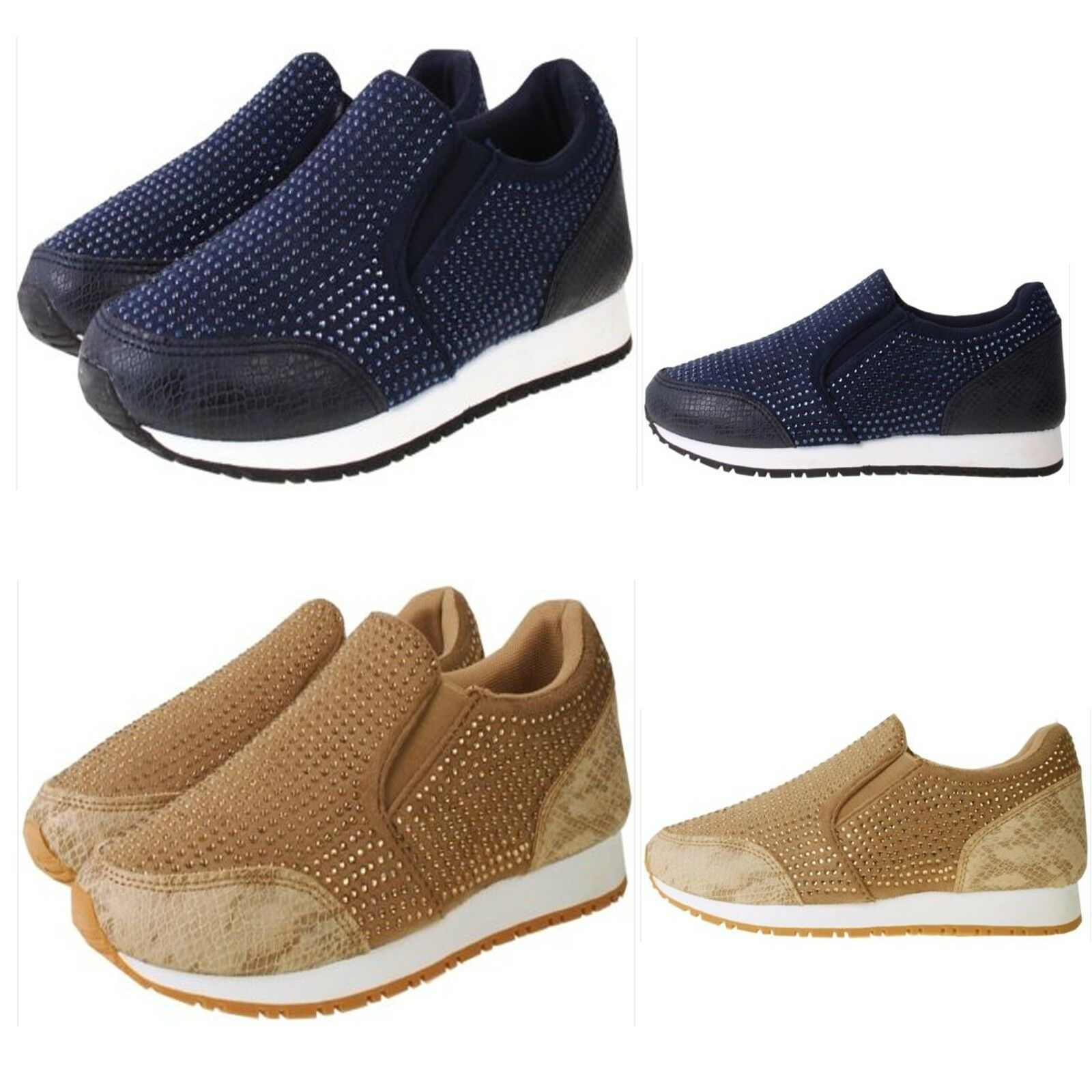 New Womens Slip On Trainers Casual Shoes Walking Lightweight Diamante Pumps Shoes Casual size a8e11b