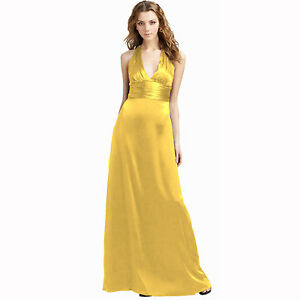 amazing price beauty buy good Details about Halter Neck Silky Satin Formal Evening Bridesmaid Dress Party  Ball Gown Yellow