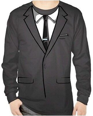 Adult TV Show Sterling Archer Long Sleeve Tuxedo Tux Suit Costume T-Shirt Tee