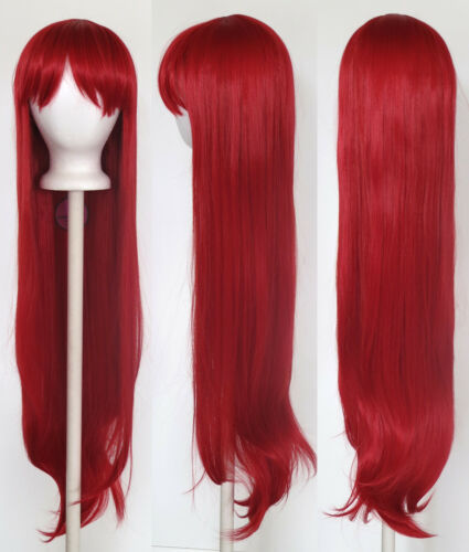 40/'/' Long Straight with Short Bangs Scarlet Red Cosplay Wig NEW