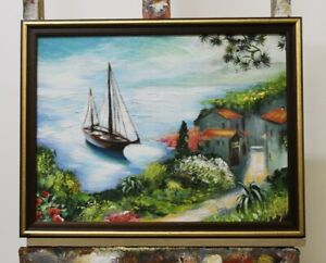 Painting-Oil-Painting-Picture-Oil-Frame-Pictures-Sea-Ships-Sea-OlgemaldeG96332