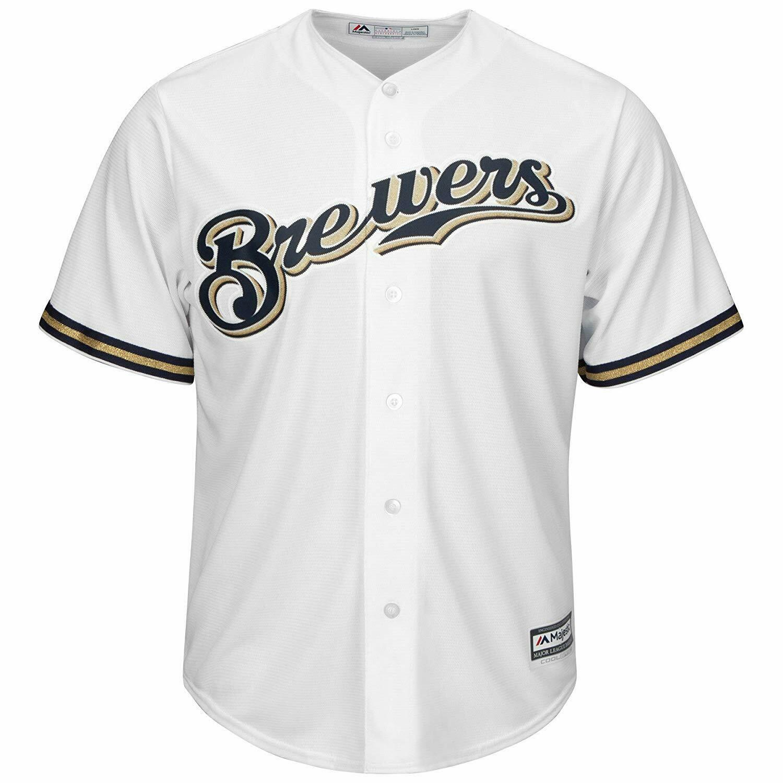 MEDIUM Mens Majestic MILWAUKEE BREWERS Cool Base Jersey Baseball shirt MLB A