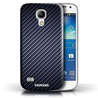 STUFF4 Case/Cover for Samsung Galaxy S4 Mini/Carbon Fibre Effect/Pattern/Blue