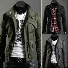 Men's Military Style Fit Slim Stand Collar Coat Jacket Zip Button Overcoat