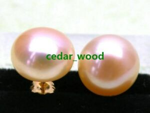 Genuine 13-14mm AAA++ Pink south sea pearl earring 14k yellow gold