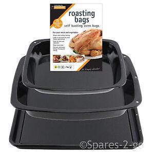 3-Pc-Enamel-Oven-Baking-Tray-Deep-Pan-Dish-Tin-Sheets-Set-Non-Stick-Basting-Bags
