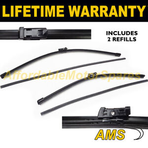 """16/"""" FOR VW POLO MK6 2009 ON DIRECT FIT FRONT AERO WIPER BLADES PAIR 24/"""""""