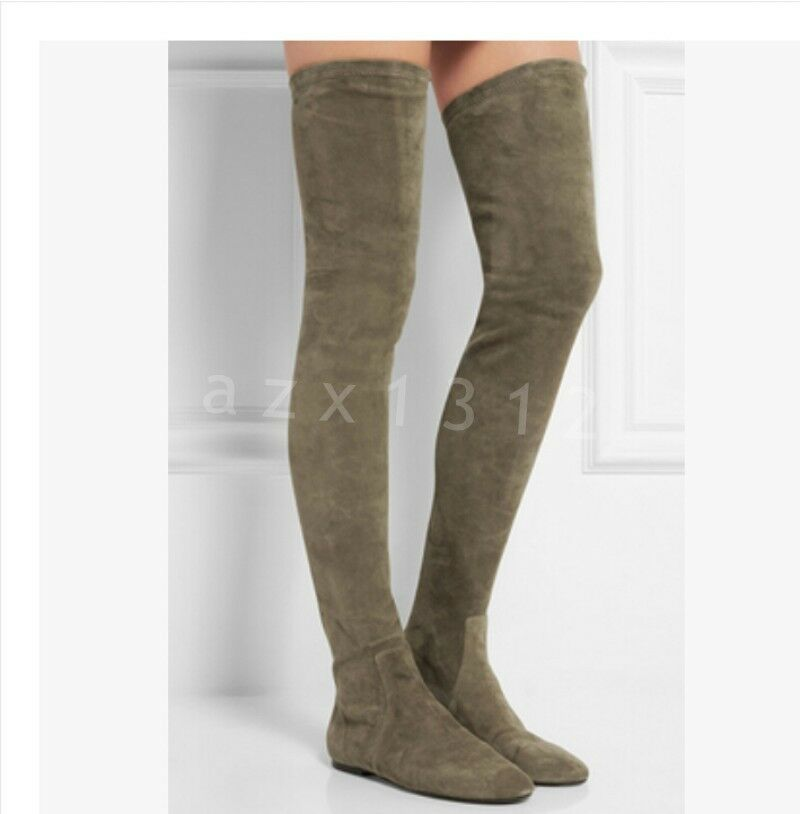 New Women's Flat Heel Suede Trentch Over Knee High Boots Outdoor Shoes Plus Size