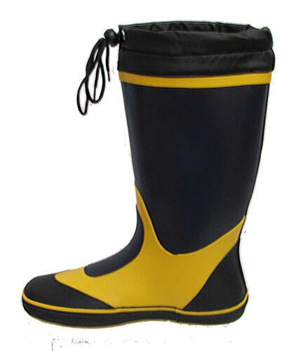 Seafarer Sailing Boat Deck Rubber Wellington Boots Wellies Grey//Yellow FREEPOST