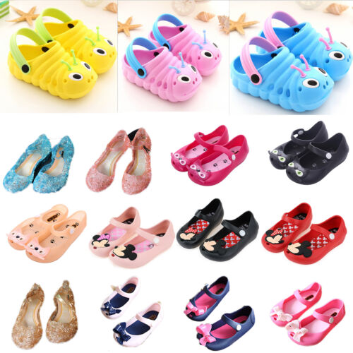 Cartoon Mickey Minnie Mouse Cat Sandals Jelly Casual Flat Shoes Baby Girls Boys