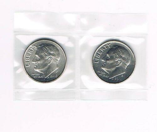 2016 P/&D ROOSEVELT DIMES BRILLIANT UNCIRCULATED FROM BANK ROLLS