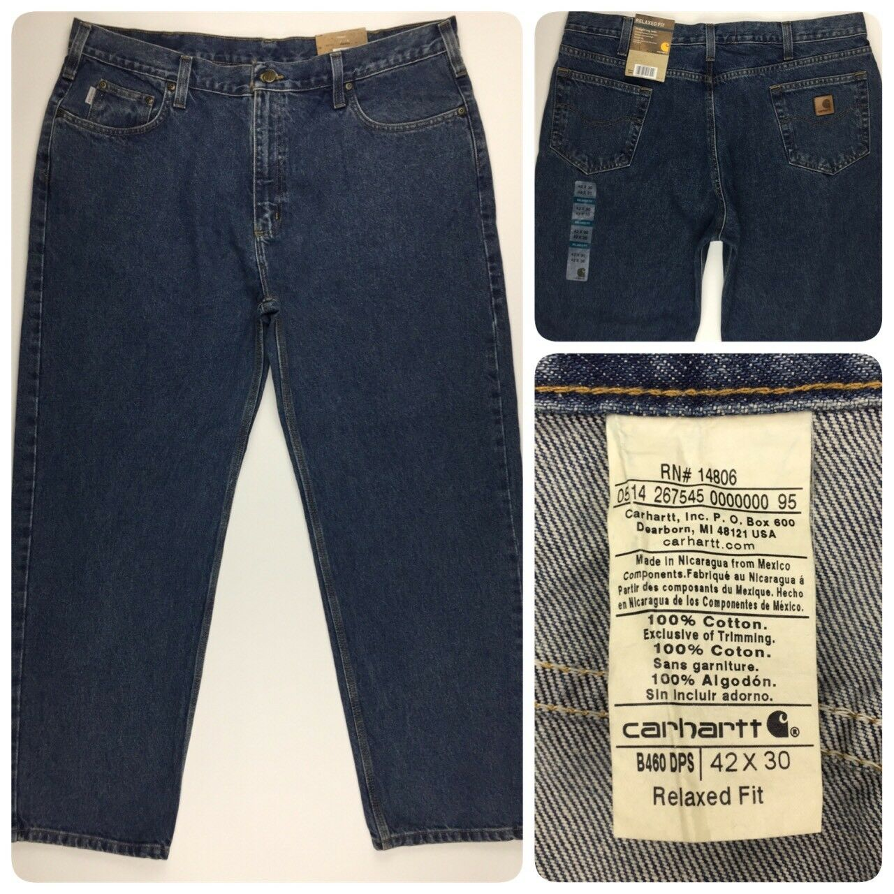 NEW  Carhartt Mens Relaxed Fit Straight Leg Jeans 42x30 B460 DPS 100% Cotton NWT