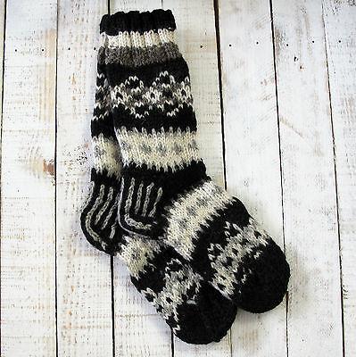 Bellissimo Funky Mano A Maglia Invernale Di Lana Makalu Socks-black & White-mostra Il Titolo Originale