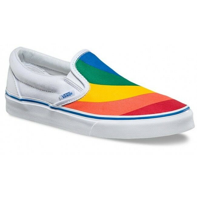 Vans Rainbow Pride blanc LGBTQ Slip on slide Collector Trainers Sneakers  Chaussures