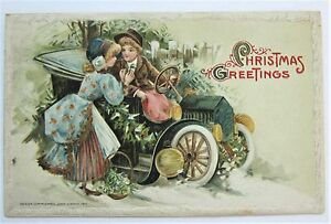 Winsch CHILDREN with Old-fashioned CHRISTMAS AUTO Embossed Postcard