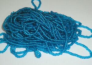 11o SAPPHIRE BLUE luster Glass SEED beads Vintage Czechoslovakian size 11 1 hank