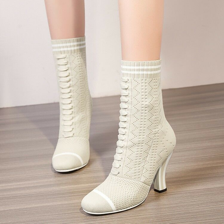 NEW Sock Ankle Boots Knit Mid calf Booties Booties Booties Stripe Block Heel Spring Autumn shoes 223e6c