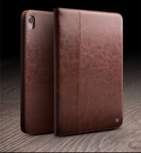 Fuer-iPad-Pro-11-034-2018-QIALINO-Klassisch-Echt-Leder-Smart-Cover-Schutz-Case-Braun