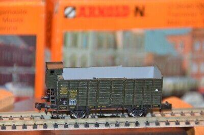 Minitrix N 1:160 13236 2-teiliger offener Güterwagen Zug Omk 2-achsig grün