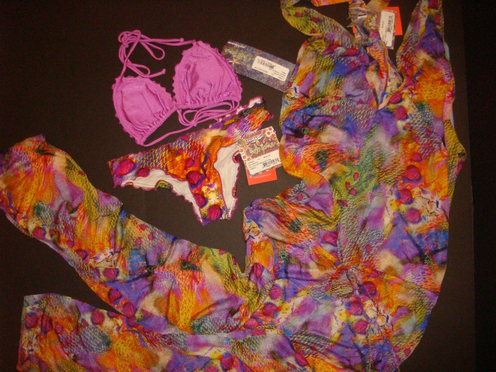 NWT Luli Fama BIKINI+romper jumpsuit Obsession Plum SIN CONTROL purple XS S
