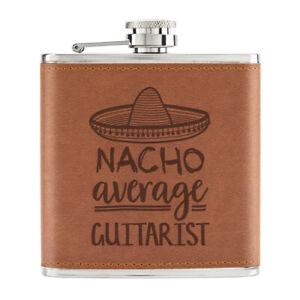 Nacho-Moyenne-Guitariste-170ml-Cuir-PU-Hip-Flasque-Brun-Worlds-Best-Drole-Genial