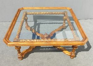 Excellent Details About Spanish Style Barley Twist Scalloped Glass Top Coffee Table Unique Oxford Wyman Caraccident5 Cool Chair Designs And Ideas Caraccident5Info
