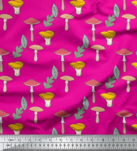 Soimoi Fabric Leaves /& Mushroom Vegetable Print Fabric by the Meter-VG-529G
