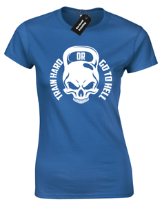 64af693c90552 TRAIN HARD OR GO TO HELL LADIES T-SHIRT GYM TRAINING TOP CROSSFIT ...