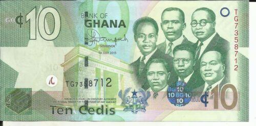5RW 26SET GHANA 10 CEDIS 2015 P 39  UNC CONDITION