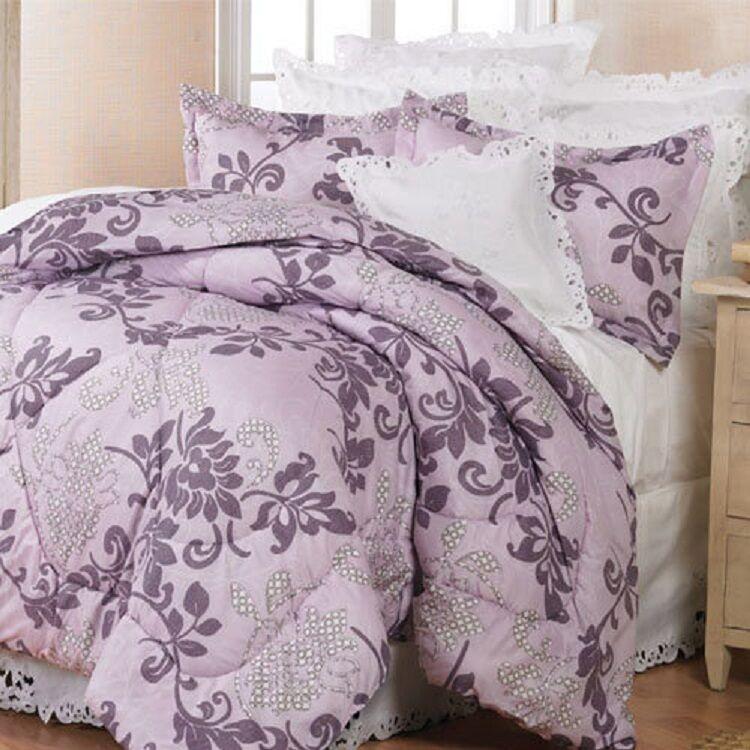 3 PC FULL QUEEN lila Scroll Comforter & Shams REVERSIBLE Mach Wash New REG  99