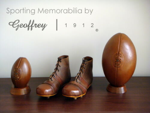 Rugby ball setVintage Tan Leather Rugby balls Shoes /& Wooden basesRetro