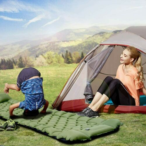 Built-in Pump Inflatable Camping Sleeping Pad Ultralight Mat Air bed w// Pillow