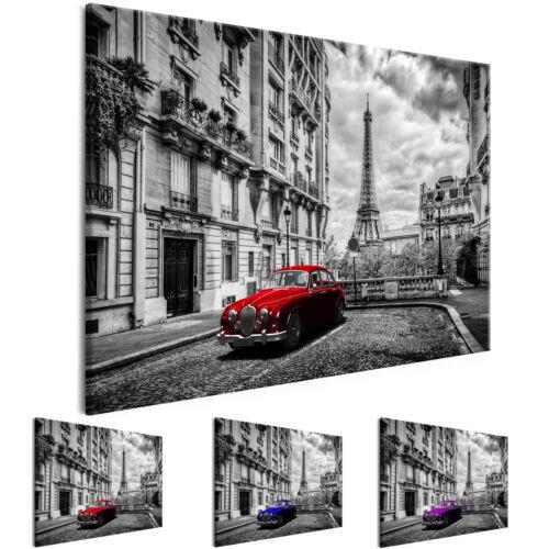 RETRO PARIS EIFFELTURM AUTO Wandbilder xxl Bilder Vlies Leinwand d-B-0212-b-b