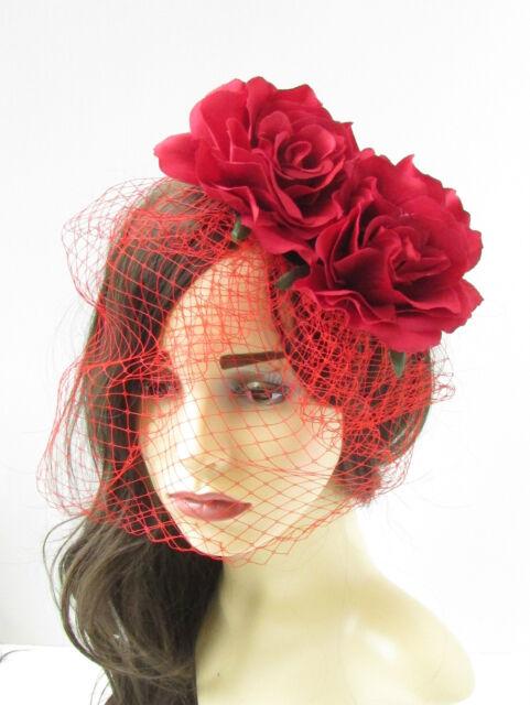 604c61ccc4a92 Red Rose Flower Birdcage Veil Fascinator Vintage Headpiece 1950s Hair Clip  81