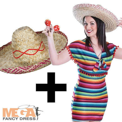 Sombrero Hat Ladies Fancy Dress Wild West Adults Costume Mexican Poncho Dress