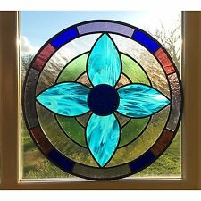 Handmade Stained Glass Round Flower Window Door Panel Made To Order Commissioned