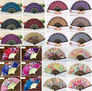Folding-Chinese-Spanish-Type-Dance-Wedding-Party-Lace-Silk-Hand-Held-Flower-Fan