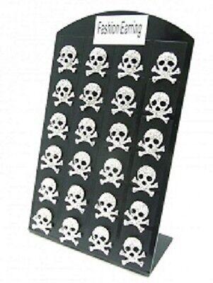 NOUVEAU paire de boucles d'oreilles cristal STRASS skull TETE DE MORT style punk