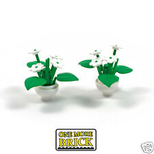LEGO Pot plants x2 - two white potted Lego plants including leaf part 6255