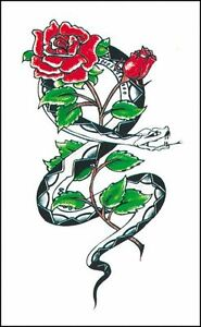 Henna Style Fake Tattoo Snake Rose Adult Ebay