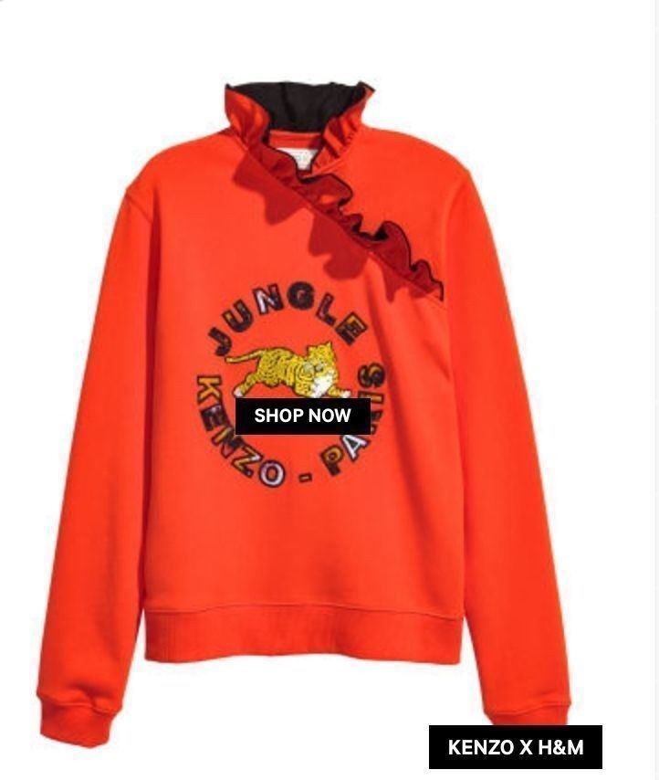 Kenzo x H&M Sweatshirt  orange Tiger Ruffle Collar SZ XS runs large SOLD OUT