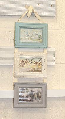 "Shabby Chic Vintage Style Pastels Blue Triple Hanging Photo Frame 3 X 6""Photo'sX"