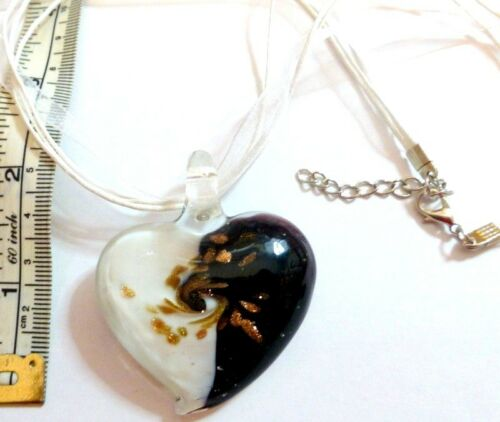 Extender Large Two Coloured Glass Heart Pendant on Silk and Cord 18 in Necklace