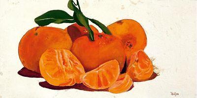 Elena Galimberti: Mandaranci Fertig-Bild 35x70 Wandbild Küche Obst Mandarine