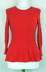 NWT-Alex-Marie-Bright-Red-Peplum-Sweater-Size-Small-41-Rayon-37-Silk