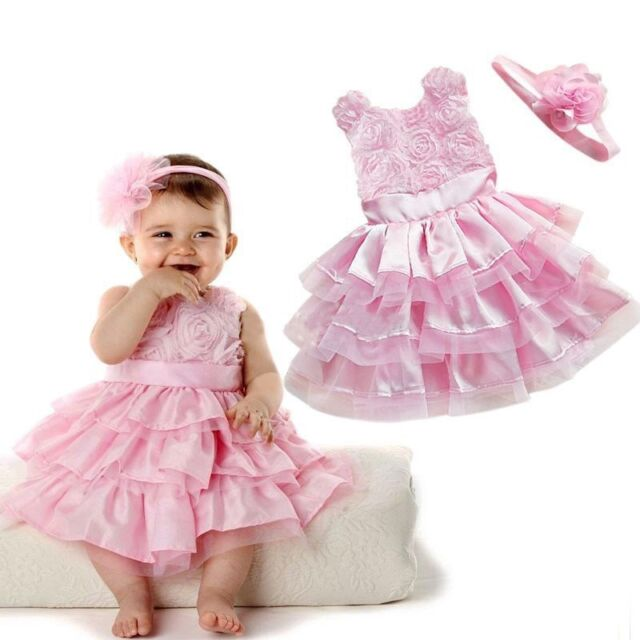 Rose Pink Rosette Silk Dress Easter Flower Baby Girls Dress Wedding + Headband