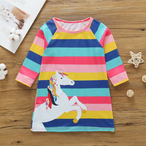 UK Cute Kids Baby Girls Cotton Unicorn  Dress Clothes Summer