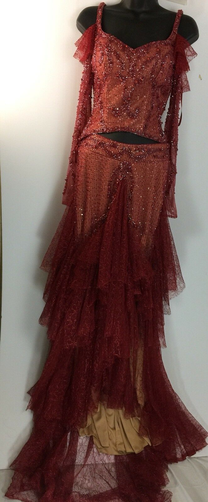 Sherry Hunte Couture Stunning Beaded Evening Red Top Skirt Two Piece Set 4  299