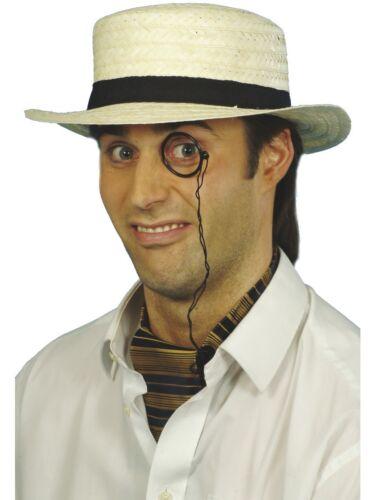 Straw boater hat homme accessoire robe fantaisie school boy hat